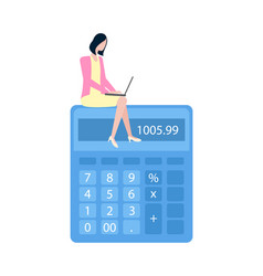 Business calculations entrepreneur with laptop vector