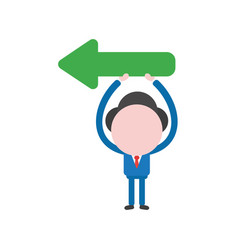 businessman character holding up arrow pointing vector image