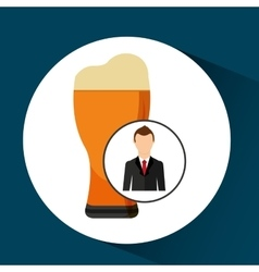 Cartoon dad father day beer glass vector