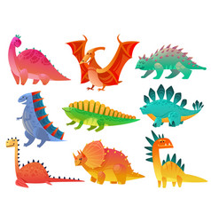 cartoon dinosaur dragon nature dino kids toy vector image