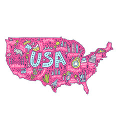 Cartoon map of usa vector