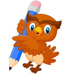 Cartoon owl holdings a pencil vector