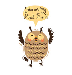 cheerful owl screams you are my best friend vector image