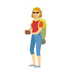 cheerful woman standing with traveling backpack vector image