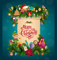 christmas garland with xmas gifts and scroll vector image