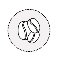 Circular sticker contour coffee beans in different vector