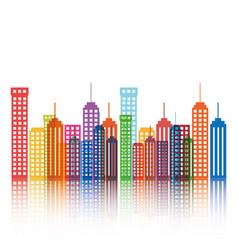 cityscape buildings silhouette icon vector image