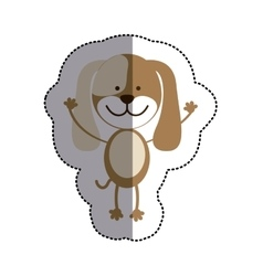 color sticker with dog and middle shadow vector image