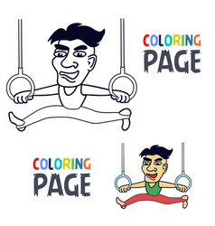Coloring page with sportman training cartoon vector