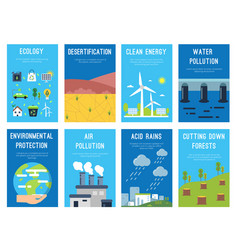 concept infographic cards at ecology theme eco vector image