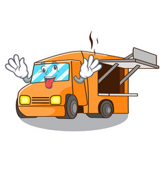 Crazy character food truck with awning beautiful vector