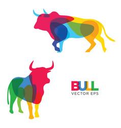 creative bull animal design vector image