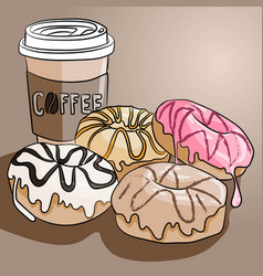 cup coffee and four sweet donuts with chocolate vector image