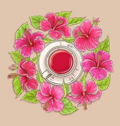 Cup hibiscus tea vector
