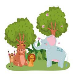 cute animals lion elephant bear monkey trees vector image