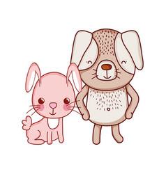 Cute animals rabbit and dog cartoon isolated icon vector