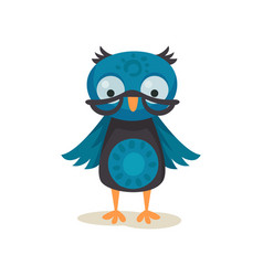 cute wise owlet wearing glasses sweet owl bird vector image