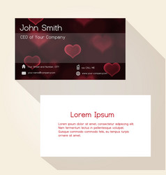 Dark bokeh heart love red abstract business card vector