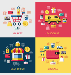 digital blue red shopping sale vector image