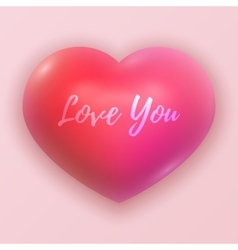 Dimensional pink shaded heart symbol vector