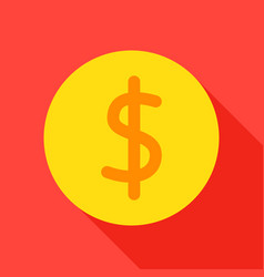 Dollar coin flat icon vector