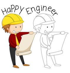 doodle happy engineer character vector image