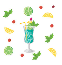 Drink blue hawaii cocktail orange lemon background vector