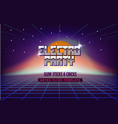 Electro party music poster template 80s retro sci vector