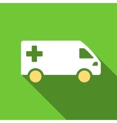 Emergency Van Flat Long Shadow Square Icon vector image