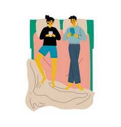ffamily couple lying in double bed with vector image
