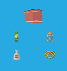 Flat icon food set of canned chicken cookie beef vector