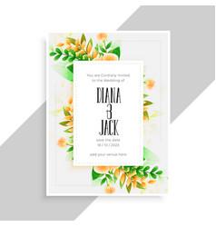 flower decoration beautiful wedding card design vector image