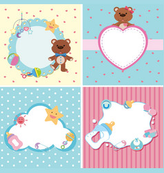 Four background templates with baby theme vector