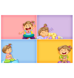 four background templates with little girl doing vector image