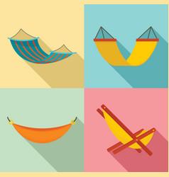 hammock icon set flat style vector image