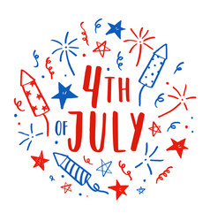hand drawn fourth july doodles vector image