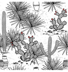 Hand drawn set with jars saguaro blue agave and vector