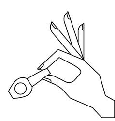 hand holding nail polish fashion icon vector image