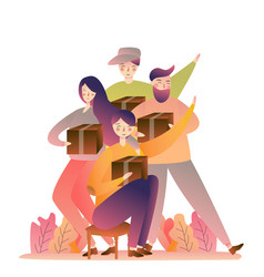 happy big family holding christmas presents at vector image