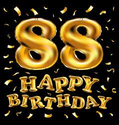 Happy birthday 88th celebration gold balloons vector