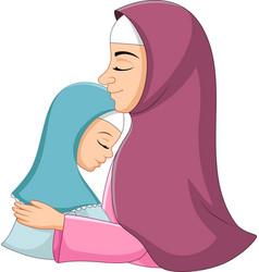 happy muslim mother hugging her daughter vector image
