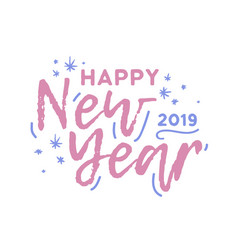 happy new year 2019 phrase written with cursive vector image