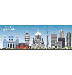 Harbin Skyline with Gray Buildings vector