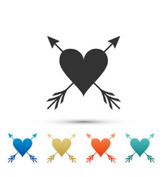 heart with arrow icon isolated on white background vector image