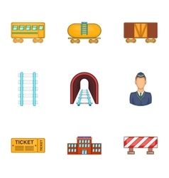 Iron way road icons set cartoon style vector image