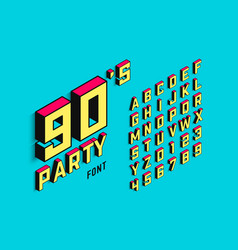 isometric 3d font back to the 90s alphabet vector image