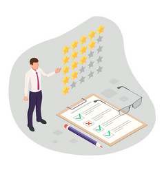 isometric feedback review rating concept vector image