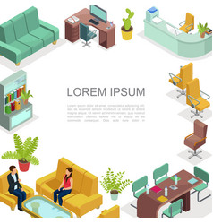 Isometric office interior template vector