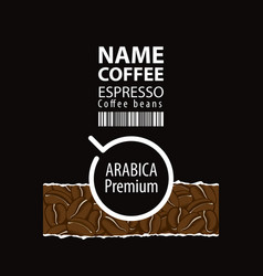 label design for coffee beans with cup vector image