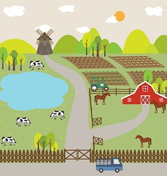 landscape farm field and hill vector image